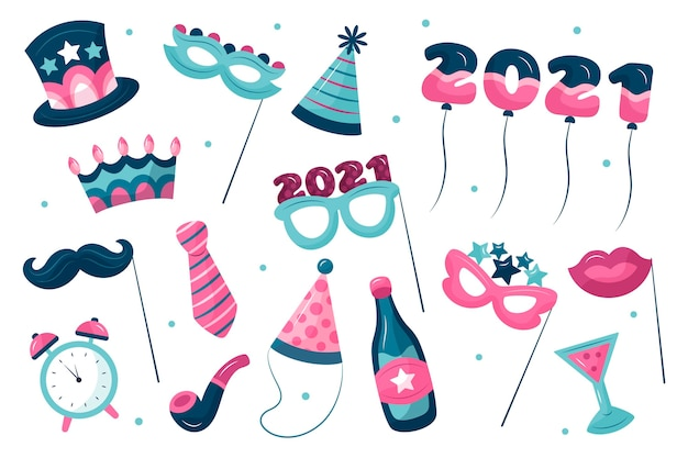 Elementos de fiesta de año nuevo en tonos azules y rosas.