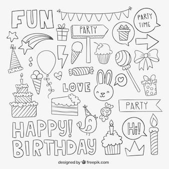 Elementos de la fiesta de cumpleaños esbozados