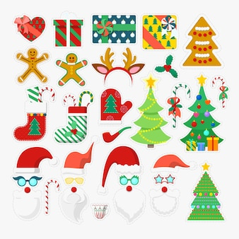 Elementos de fiesta de feliz navidad photo booth con gafas, accesorios y astas. ilustración