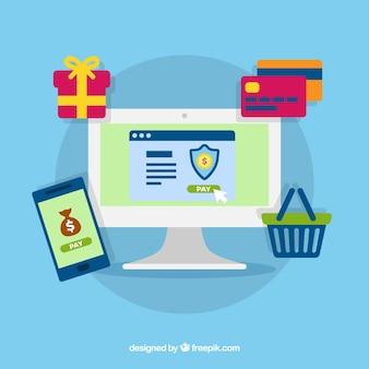 Elementos flat acerca del pago online