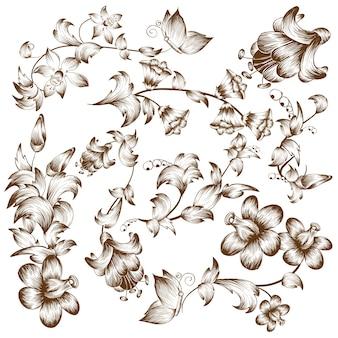 Elementos de flor de diseño vintage