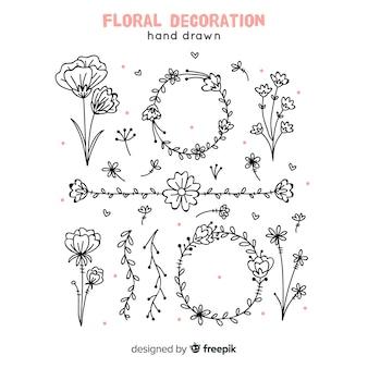 Elementos florales de decoración dibujados a mano