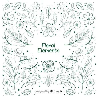 Elementos florales decorativos sin color dibujados a mano