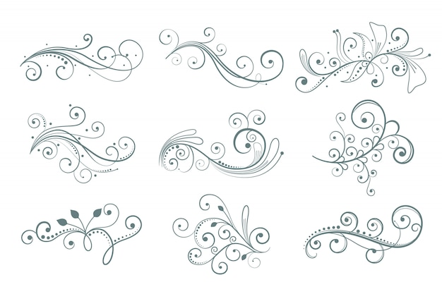 Elementos florales decorativos en diferentes estilos.
