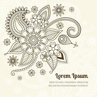 Elementos florales en estilo indio mehndi.
