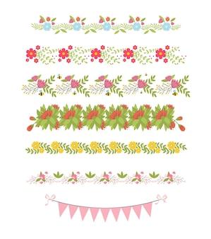 Elementos florales de la frontera. flor botánica hermosa primavera marco
