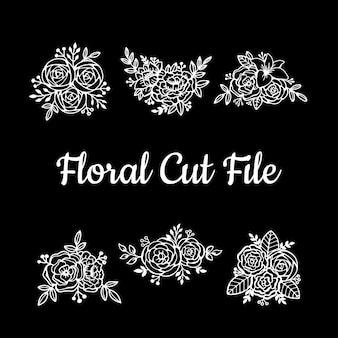 Elementos florales hermosos del archivo del corte