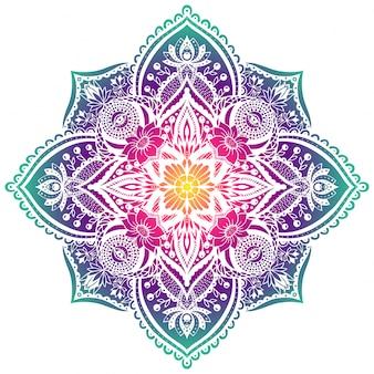 Elementos florales mandala decorativos brillantes.