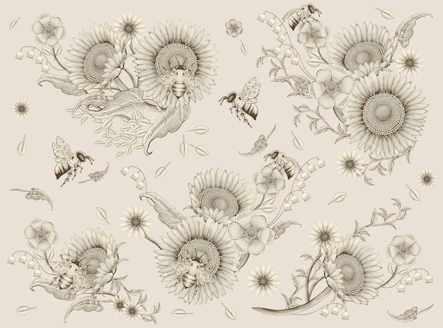 Elementos de flores y abejas de miel, estilo de sombreado de grabado retro dibujado a mano, fondo beige