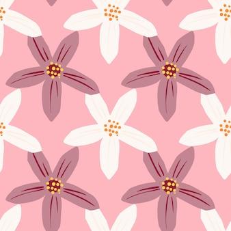Elementos de flores de mandarinas de hierbas de color púrpura y blanco.