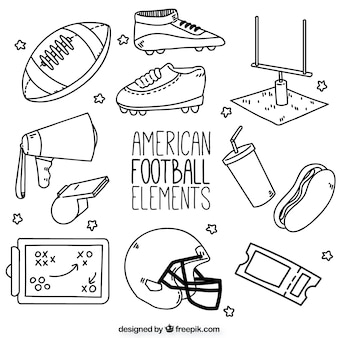 Elementos de fútbol americano dibujados a mano