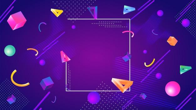 Elementos geométricos abstractos coloridos 3d decorados sobre fondo púrpura
