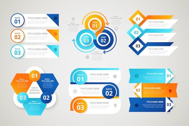 Elementos de gradiente de infografía
