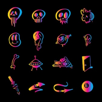 Elementos de graffiti en vector aislado