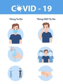 Elementos gráficos de información los signos y el virus corona, cosas que hacer y cosas que no se deben hacer de covid - 19