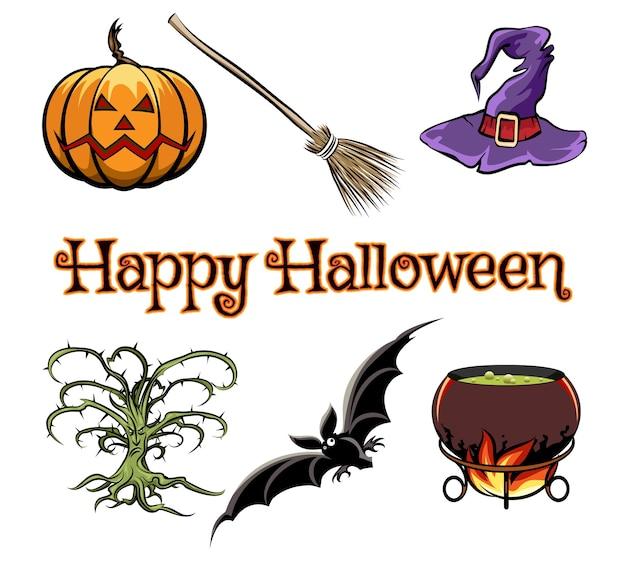 Elementos gráficos vectoriales de halloween con sombrero de calabaza, murciélago y bruja