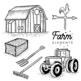 Elementos de la granja dibujados a mano.