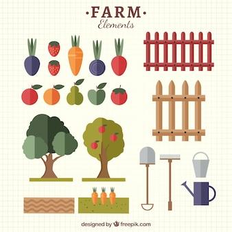 Elementos de granja y ecológicos planos