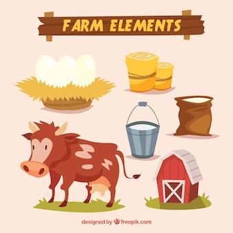 Elementos de granja y vaca de dibujos animados