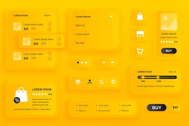 Elementos de la gui para la aplicación móvil de compras