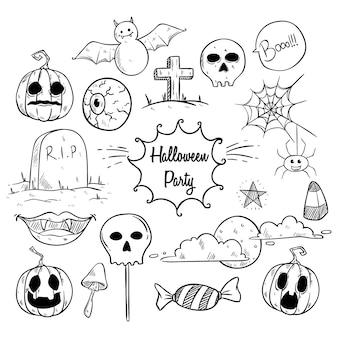 Elementos de halloween dibujados a mano o ilustración