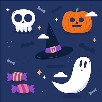 Elementos de halloween de diseño plano