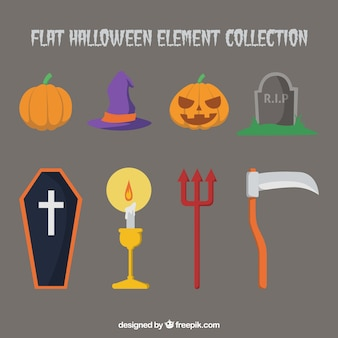 Elementos de halloween en estilo plano