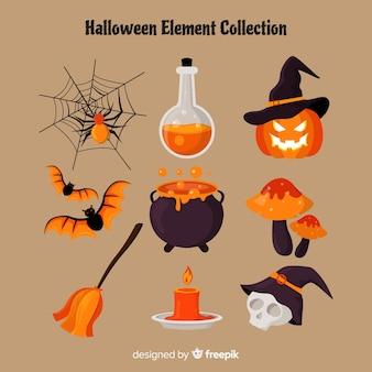 Elementos de halloween terroríficos con diseño plano