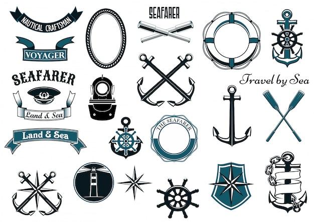 Elementos heráldicos náuticos y marinos.
