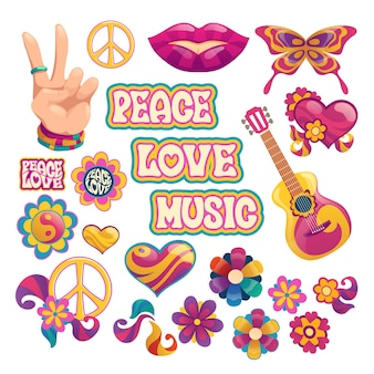 Elementos hippie con letras de paz, amor y música.