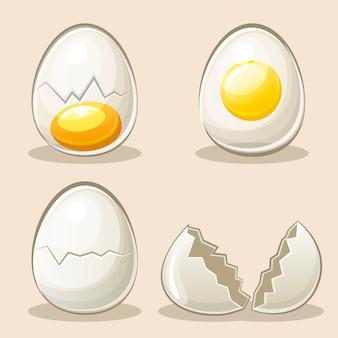 Elementos de huevos de dibujos animados
