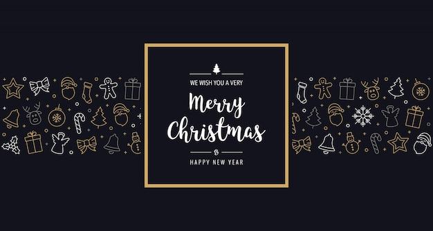Elementos de icono de navidad marco de tarjeta de felicitación de texto dorado fondo negro