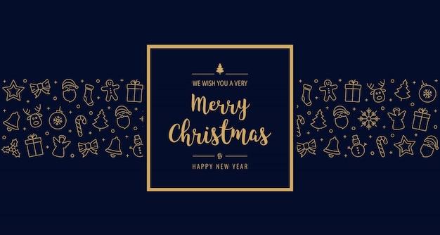 Elementos de icono de tarjeta de navidad texto de fondo azul marco de felicitación de oro