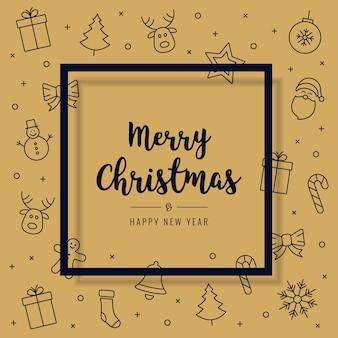Elementos de icono de tarjeta de navidad texto de fondo de marco de saludo de oro
