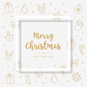 Elementos de icono de tarjeta de navidad texto de oro marco de fondo blanco