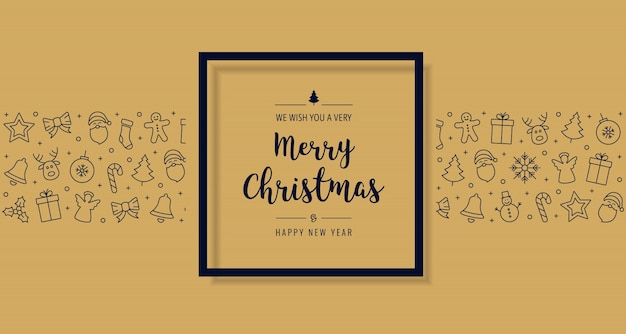 Elementos de icono de tarjeta de navidad texto saludo fondo de oro marco negro