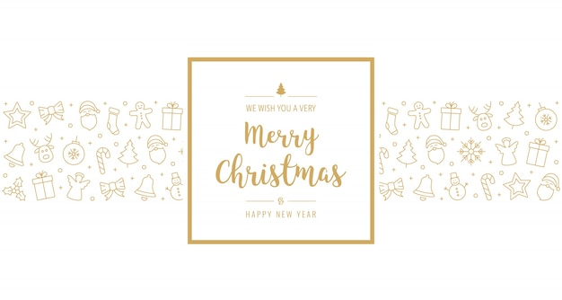 Elementos de icono de tarjeta de navidad texto saludo marco fondo blanco dorado