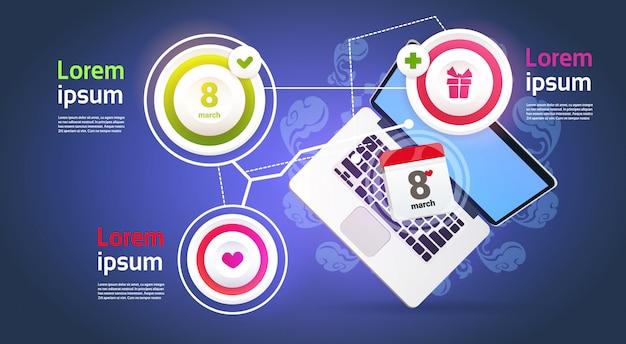 Elementos de infografía para el 8 de marzo con el fondo de la plantilla del día internacional de la mujer feliz del ordenador portátil