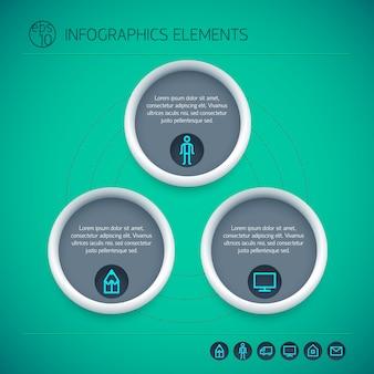 Elementos de infografía abstractos con círculos de texto tres opciones e iconos sobre fondo verde aislado