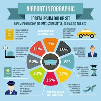 Elementos de infografía del aeropuerto en estilo plano para cualquier diseño.
