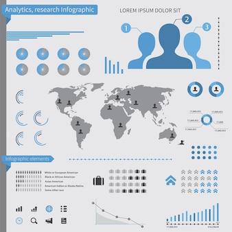 Elementos de infografía de análisis, sobre fondo blanco.