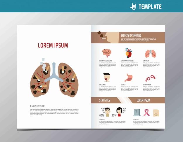 Elementos de infografía bienestar. dejar de fumar ilustración de dibujos animados lindo plano.