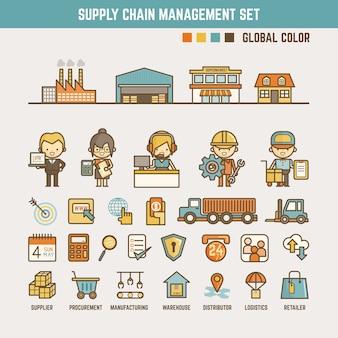 Elementos de infografía de la cadena de suministro