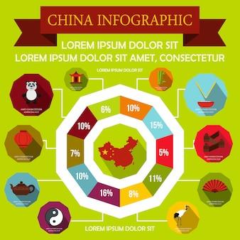 Elementos de infografía china en estilo plano para cualquier diseño.