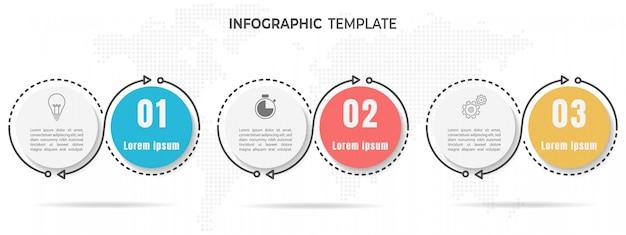 Elementos infografía círculo 3 opciones.