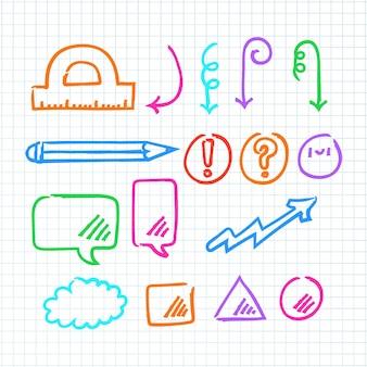 Elementos de infografía colorida de la escuela