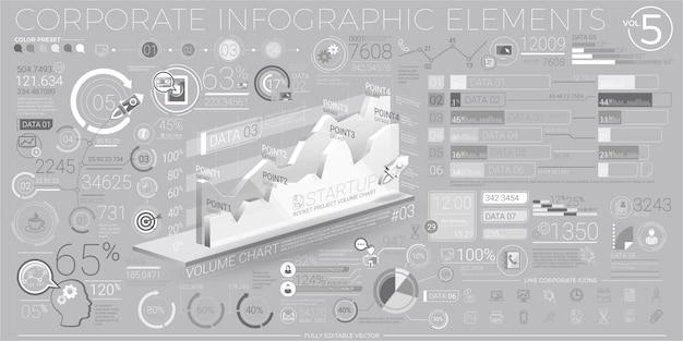 Elementos de infografía corporativa en gris y blanco
