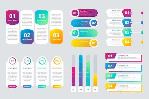 Elementos de infografía degradado colorido