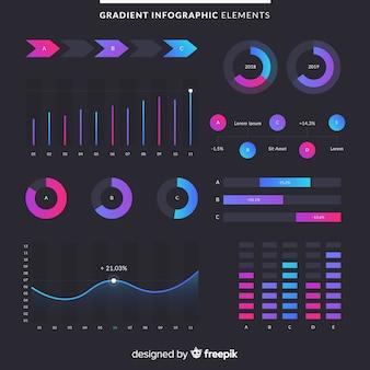 Elementos de infografia con degradado con fondo oscuro