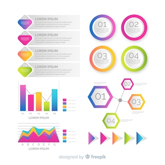 Elementos de infografía en degradado